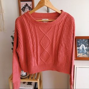 JCPenney Coral Cropped Sweater